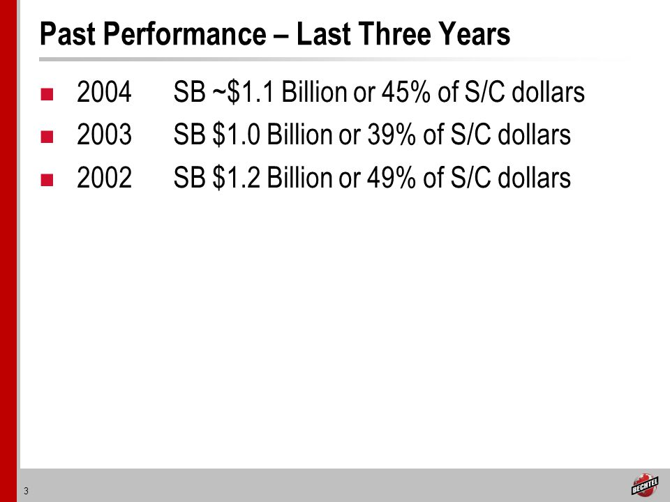 3 Past Performance – Last Three Years 2004SB ~$1.1 Billion or 45% of S/C dollars 2003SB $1.0 Billion or 39% of S/C dollars 2002SB $1.2 Billion or 49% of S/C dollars