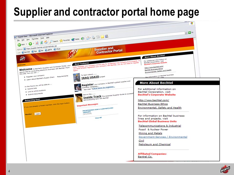 4 Supplier and contractor portal home page