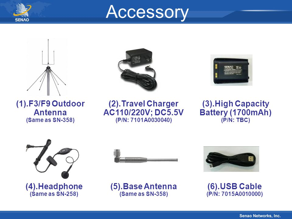 Specification Item Base Unit Handset Transmitter Frequency 394MHz 268MHz Spurious Emission Current Consumption 55dBc Stand-by 160mA 5~10 mA Talk 600mA
