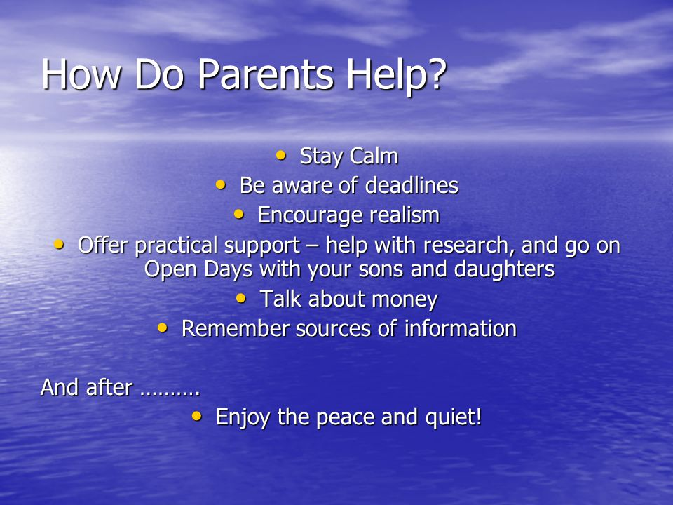 How Do Parents Help.