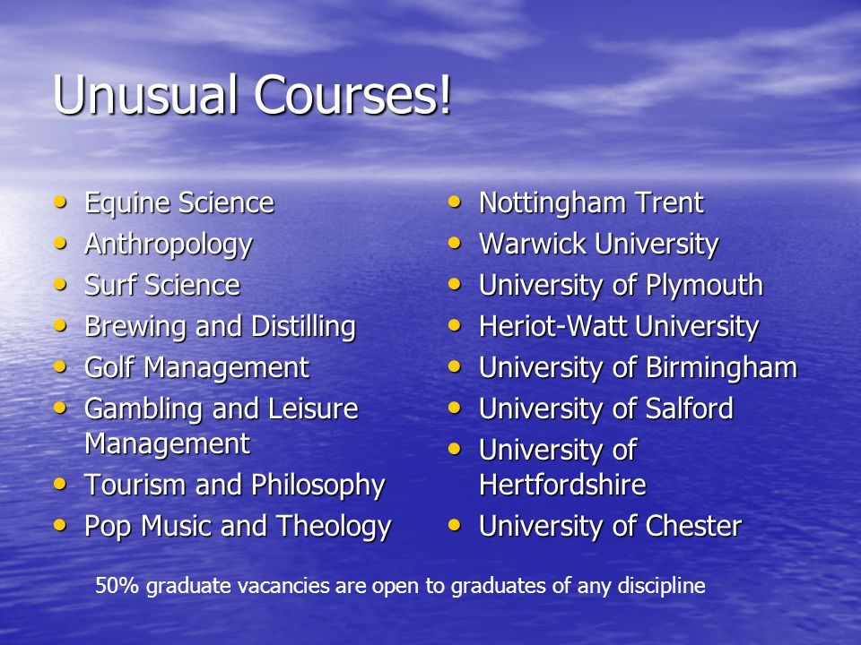 Unusual Courses.