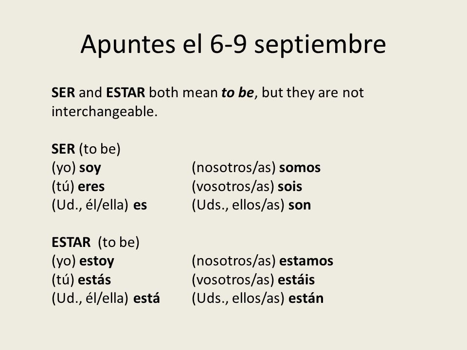 Apuntes el 6-9 septiembre SER and ESTAR both mean to be, but they are not interchangeable.
