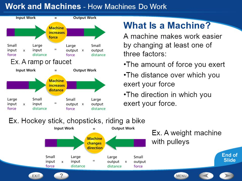 Work and Machines - How Machines Do Work What Is a Machine? A machine makes work easier by changing at least one of three factors: The amount of force