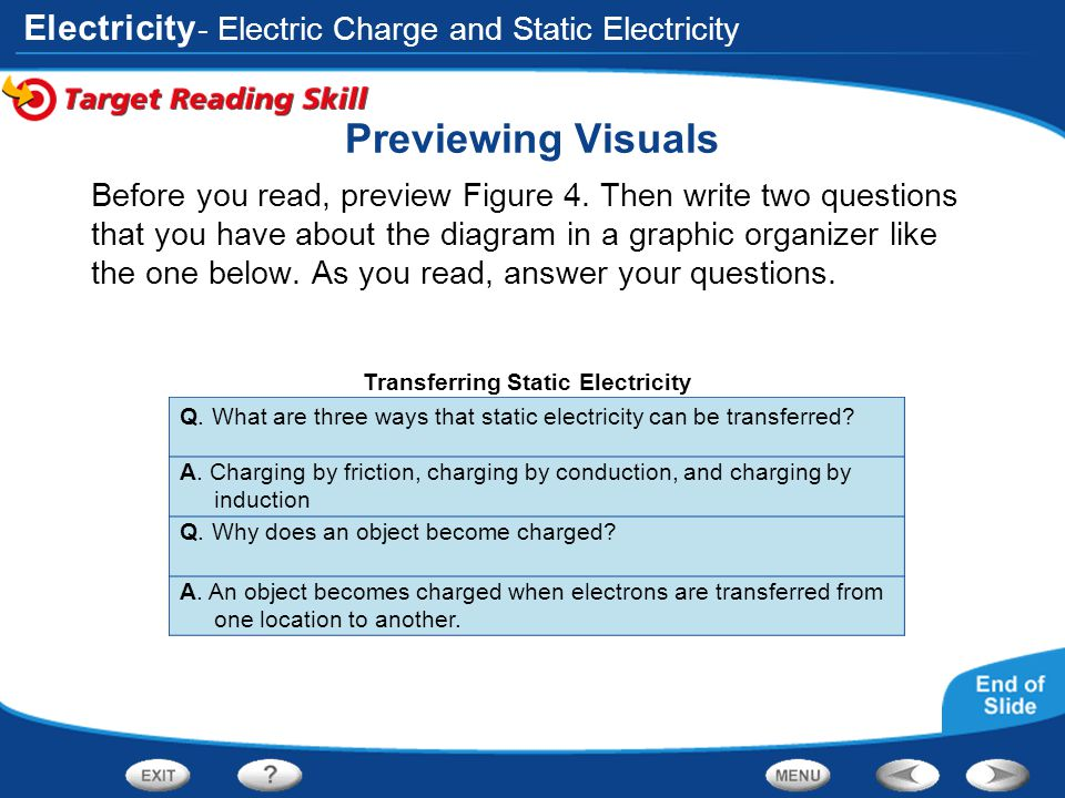 Electricity Links on Static Electricity Click the SciLinks button for links on static electricity.
