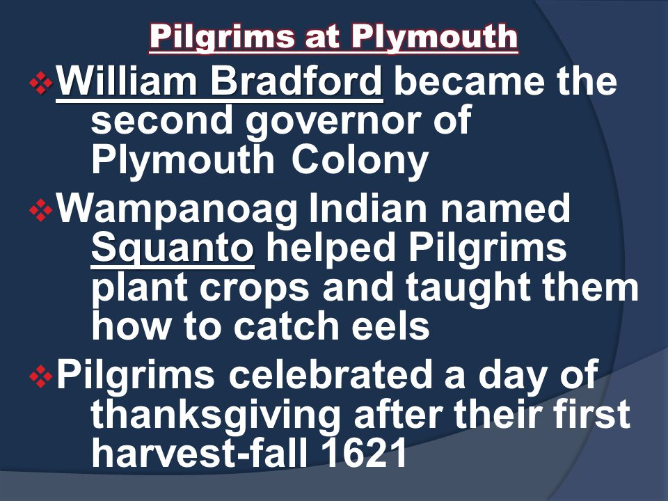  William Bradford  William Bradford became the second governor of Plymouth Colony Squanto  Wampanoag Indian named Squanto helped Pilgrims plant crops and taught them how to catch eels  Pilgrims celebrated a day of thanksgiving after their first harvest-fall 1621