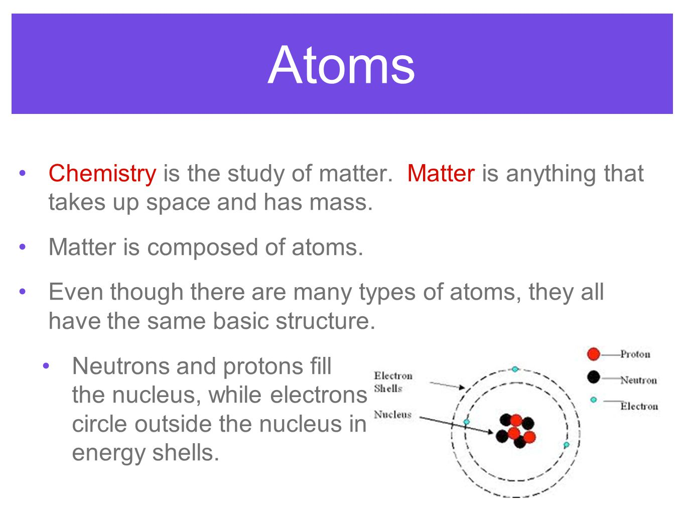 Atoms Chemistry is the study of matter. Matter is anything that takes up space and has mass. Matter is composed of atoms. Even though there are many t