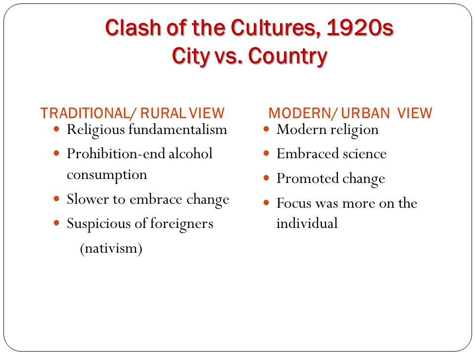 Clash of the Cultures, 1920s City vs. Country Religious fundamentalism Prohibition-end alcohol consumption Slower to embrace change Suspicious of fore