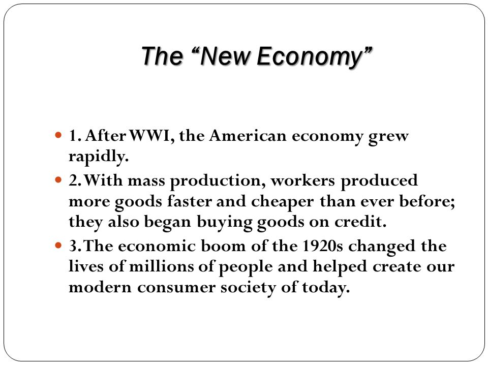What factors drove the economic boom of the 1920s.