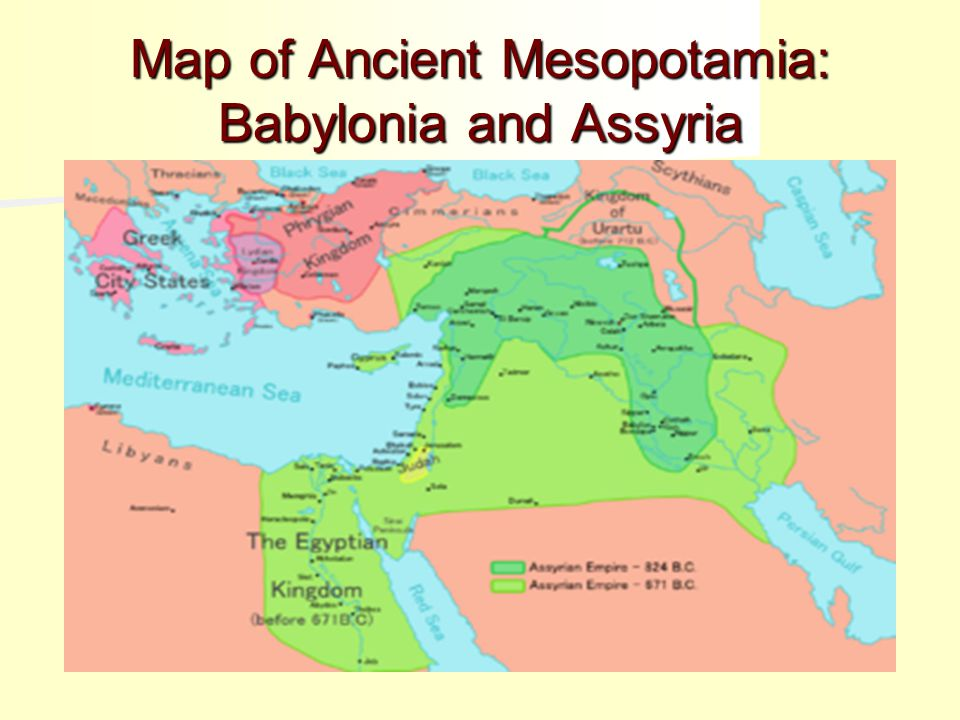 Map of Ancient Mesopotamia: Babylonia and Assyria