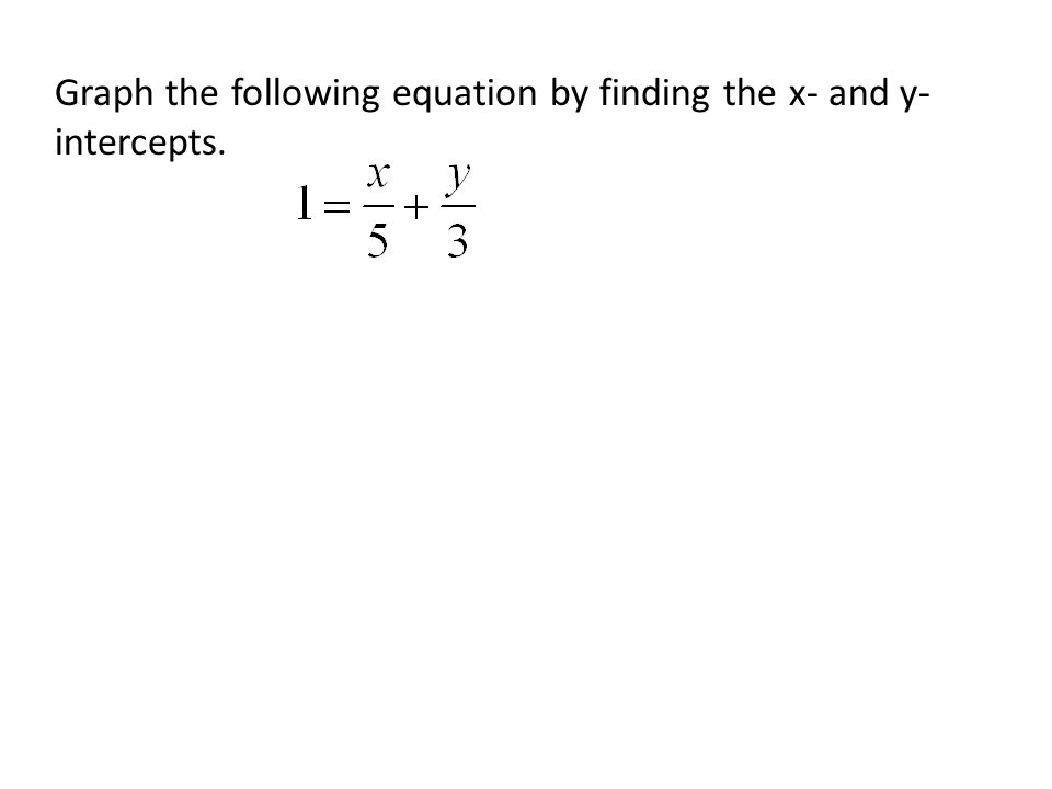 Graph the following equation by finding the x- and y- intercepts.