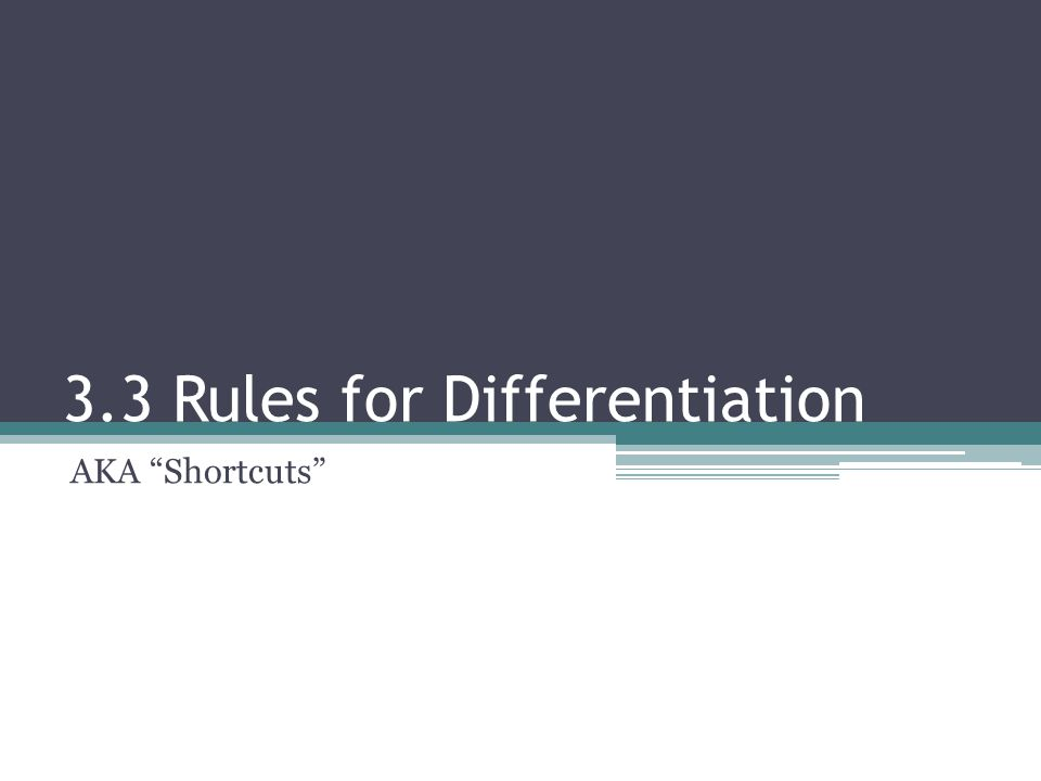 """3.3 Rules for Differentiation AKA """"Shortcuts"""""""