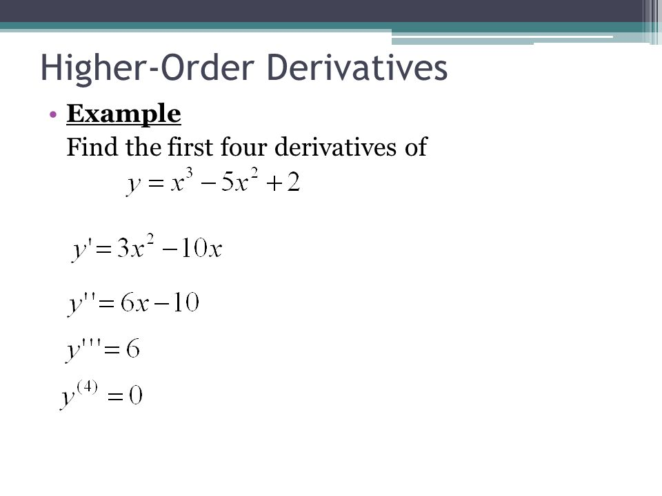 Higher-Order Derivatives Example Find the first four derivatives of