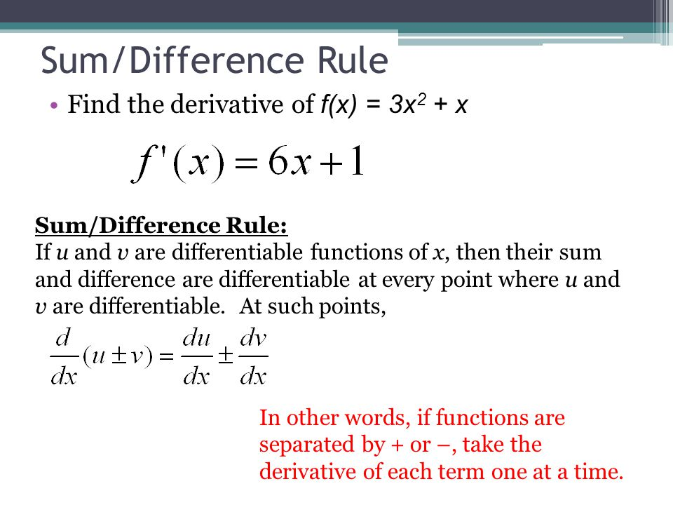 Sum/Difference Rule Find the derivative of f(x) = 3x 2 + x Sum/Difference Rule: If u and v are differentiable functions of x, then their sum and diffe