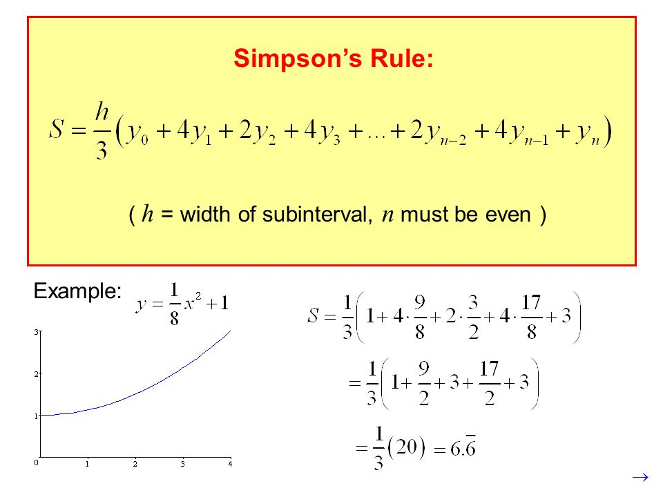 Simpson's Rule: ( h = width of subinterval, n must be even ) Example: