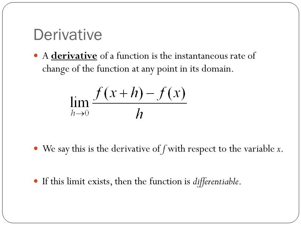 Symbols Used to Denote Derivatives