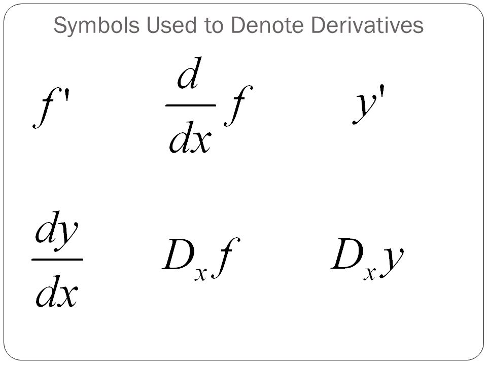 Note on Notations dx does not mean d times x!! dy does not mean d times y!!