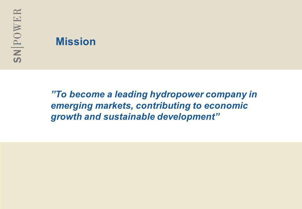"3 Mission ""To become a leading hydropower company in emerging markets, contributing to economic growth and sustainable development"""