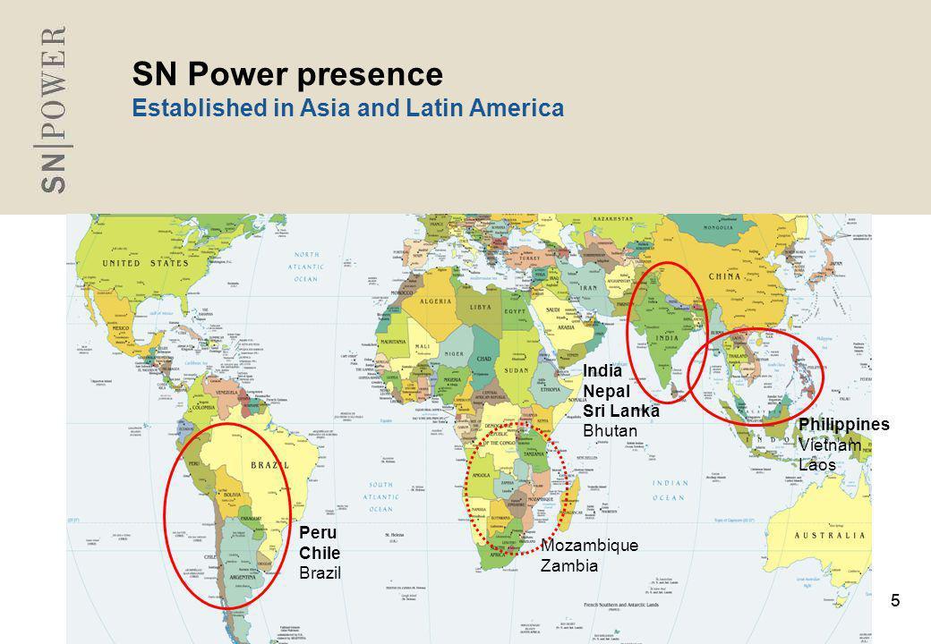 55 SN Power presence Established in Asia and Latin America India Nepal Sri Lanka Bhutan Peru Chile Brazil Philippines Vietnam Laos Mozambique Zambia