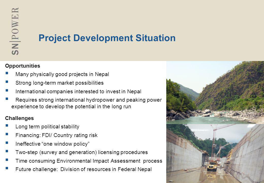 88 Project Development Situation Opportunities  Many physically good projects in Nepal  Strong long-term market possibilities  International compan