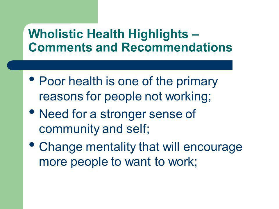 Wholistic Health Highlights – Comments and Recommendations Poor health is one of the primary reasons for people not working; Need for a stronger sense of community and self; Change mentality that will encourage more people to want to work;