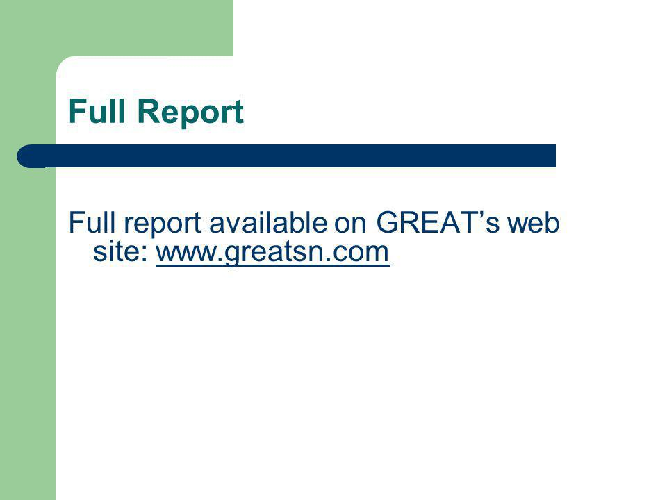 Full Report Full report available on GREAT's web site: www.greatsn.comwww.greatsn.com