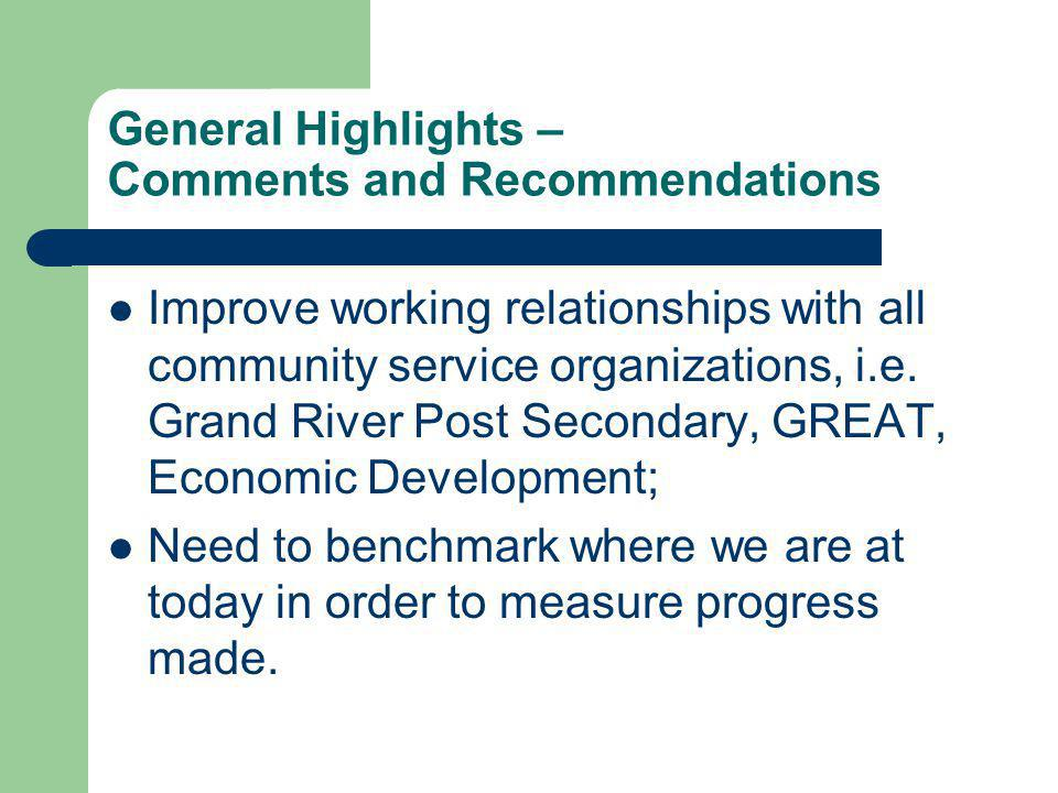 General Highlights – Comments and Recommendations Improve working relationships with all community service organizations, i.e.