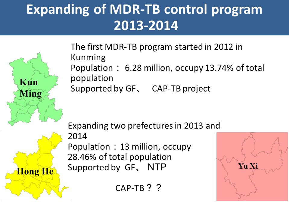 The first MDR-TB program started in 2012 in Kunming Population : 6.28 million, occupy 13.74% of total population Supported by GF 、 CAP-TB project Kun Ming Hong He Yu Xi Expanding two prefectures in 2013 and 2014 Population : 13 million, occupy 28.46% of total population Supported by GF 、 NTP CAP-TB ?? Expanding of MDR-TB control program 2013-2014