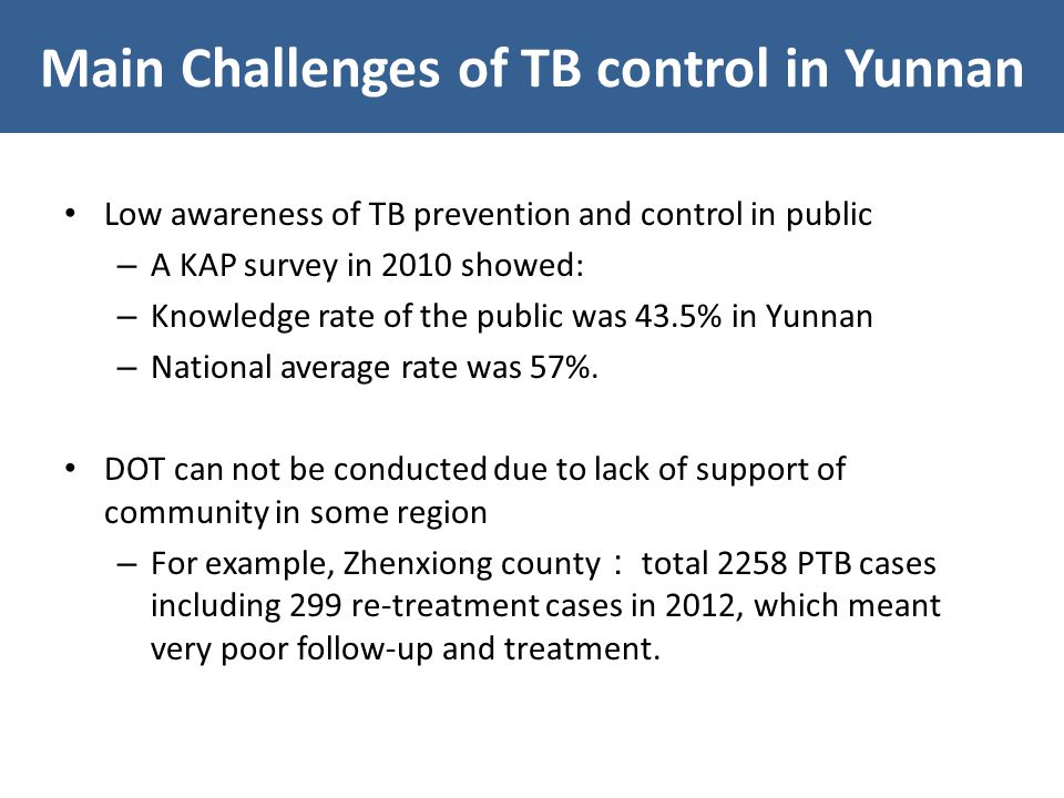 Low awareness of TB prevention and control in public – A KAP survey in 2010 showed: – Knowledge rate of the public was 43.5% in Yunnan – National average rate was 57%.