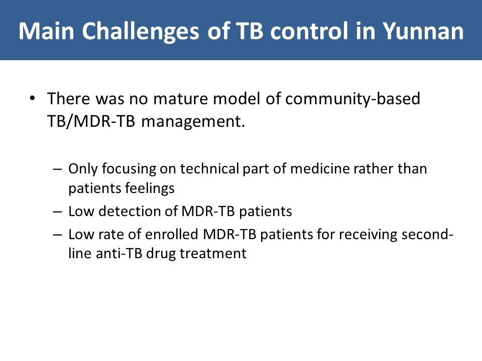 There was no mature model of community-based TB/MDR-TB management.