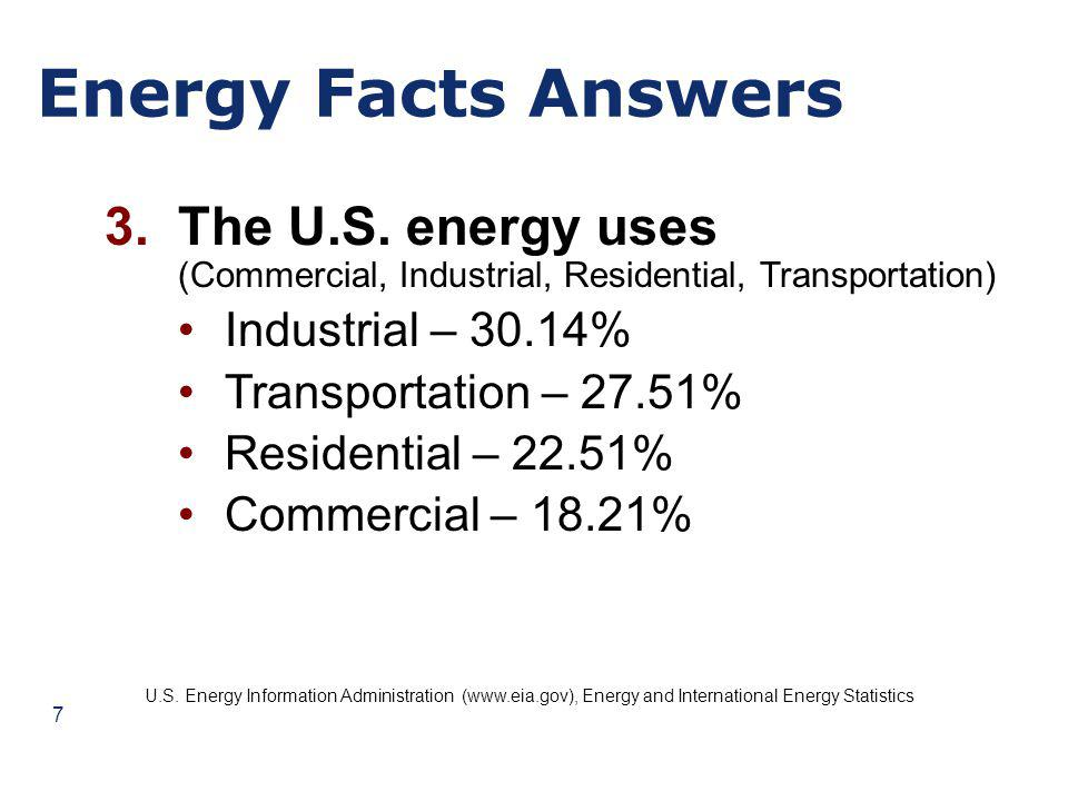 Energy Facts Answers 4.The top three oil producing nations (in order of magnitude) Saudi Arabia Russia United States U.S.
