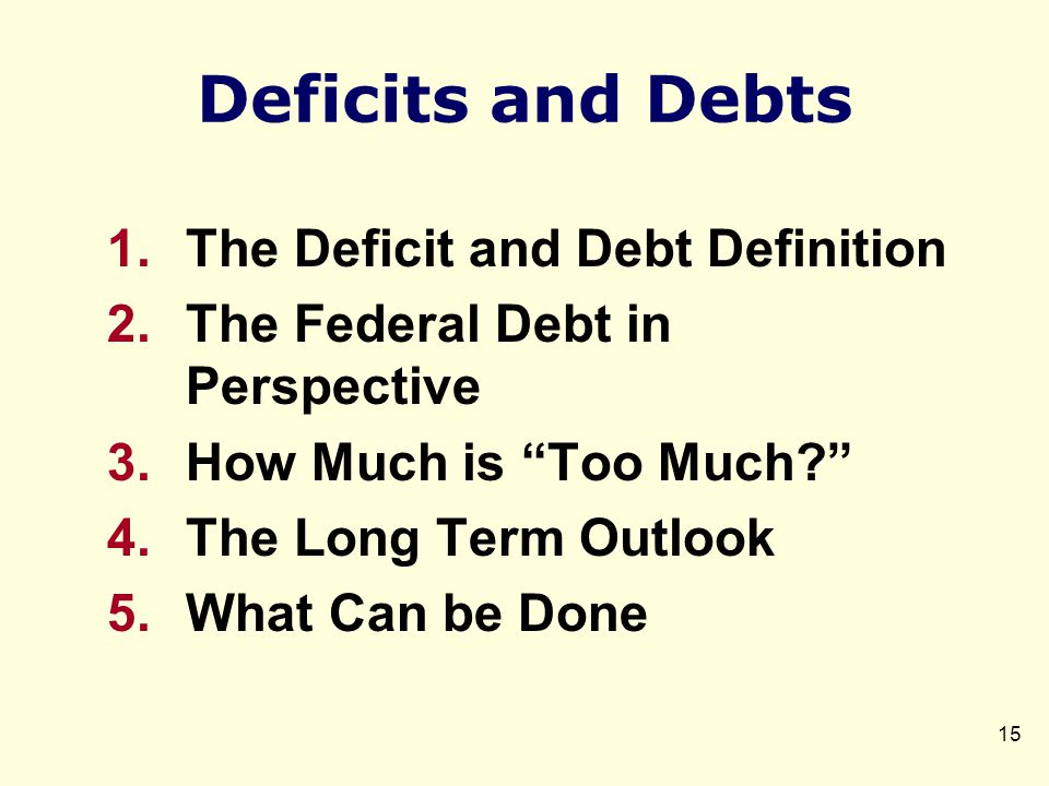 Deficits and Debts 1.The Deficit and Debt Definition 2.The Federal Debt in Perspective 3.How Much is Too Much? 4.The Long Term Outlook 5.What Can be Done 15