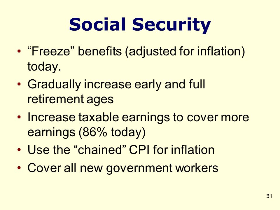 Social Security Freeze benefits (adjusted for inflation) today.