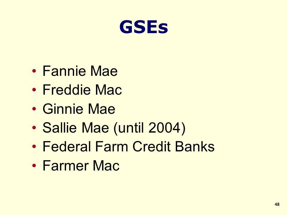 Fannie Mae Freddie Mac Ginnie Mae Sallie Mae (until 2004) Federal Farm Credit Banks Farmer Mac GSEs 48