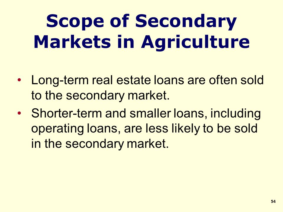 Long-term real estate loans are often sold to the secondary market.