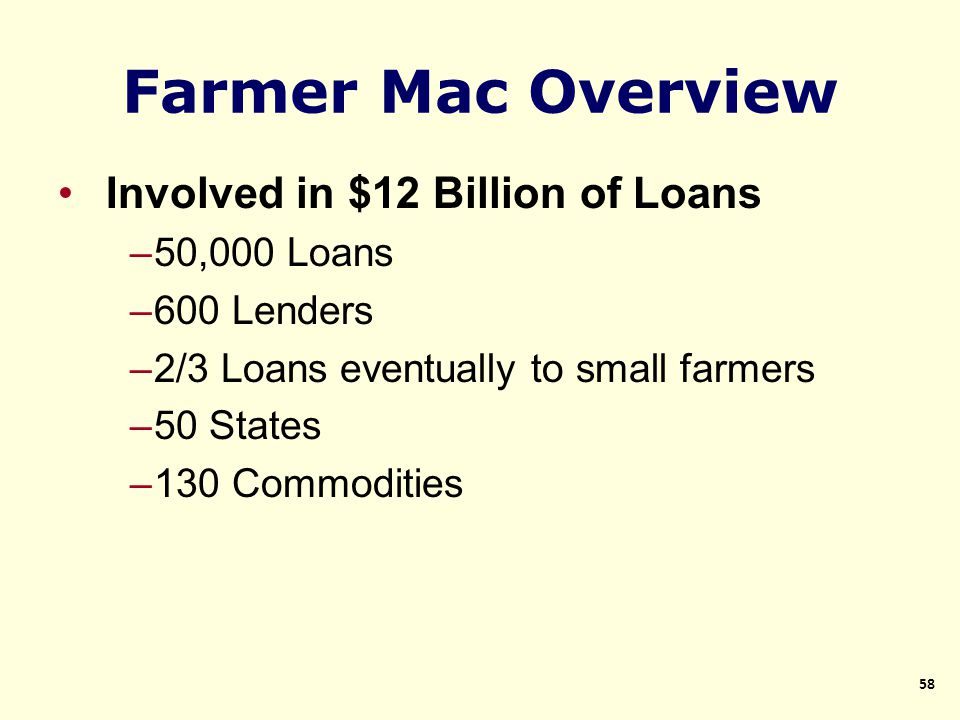 Involved in $12 Billion of Loans –50,000 Loans –600 Lenders –2/3 Loans eventually to small farmers –50 States –130 Commodities 58 Farmer Mac Overview