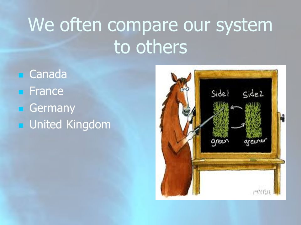 We often compare our system to others Canada France Germany United Kingdom