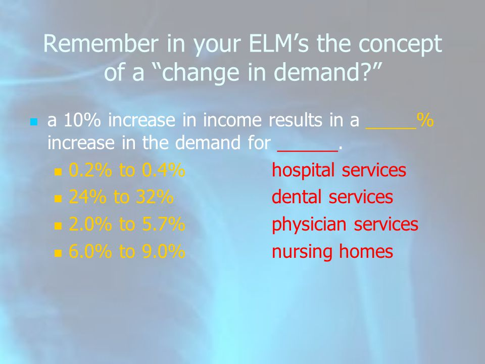Remember in your ELM's the concept of a change in demand a 10% increase in income results in a _____% increase in the demand for ______.