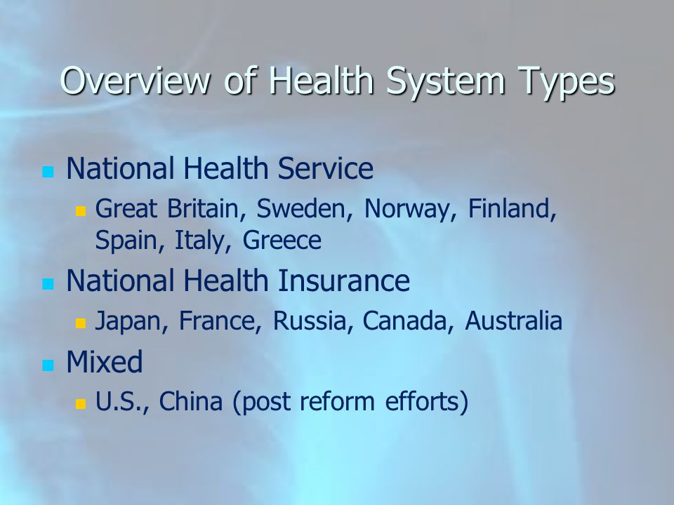 Overview of Health System Types National Health Service Great Britain, Sweden, Norway, Finland, Spain, Italy, Greece National Health Insurance Japan,
