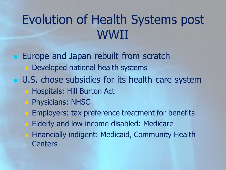 Evolution of Health Systems post WWII Europe and Japan rebuilt from scratch Developed national health systems U.S.