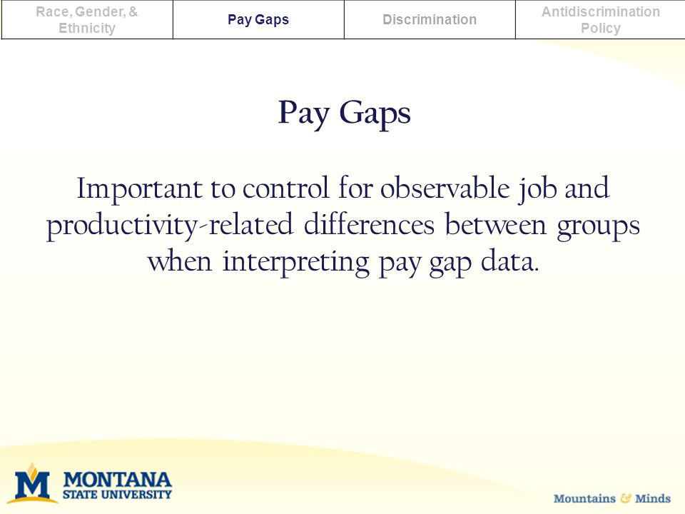Race, Gender, & Ethnicity Pay GapsDiscrimination Antidiscrimination Policy Important to control for observable job and productivity-related differences between groups when interpreting pay gap data.