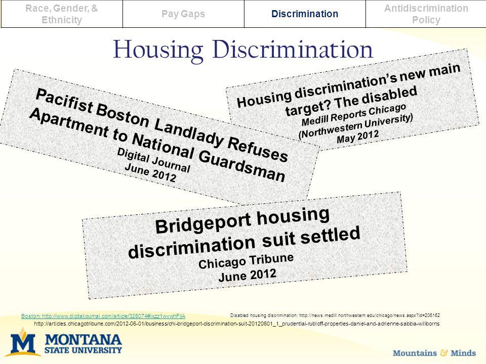 Housing Discrimination Race, Gender, & Ethnicity Pay GapsDiscrimination Antidiscrimination Policy Housing discrimination's new main target.
