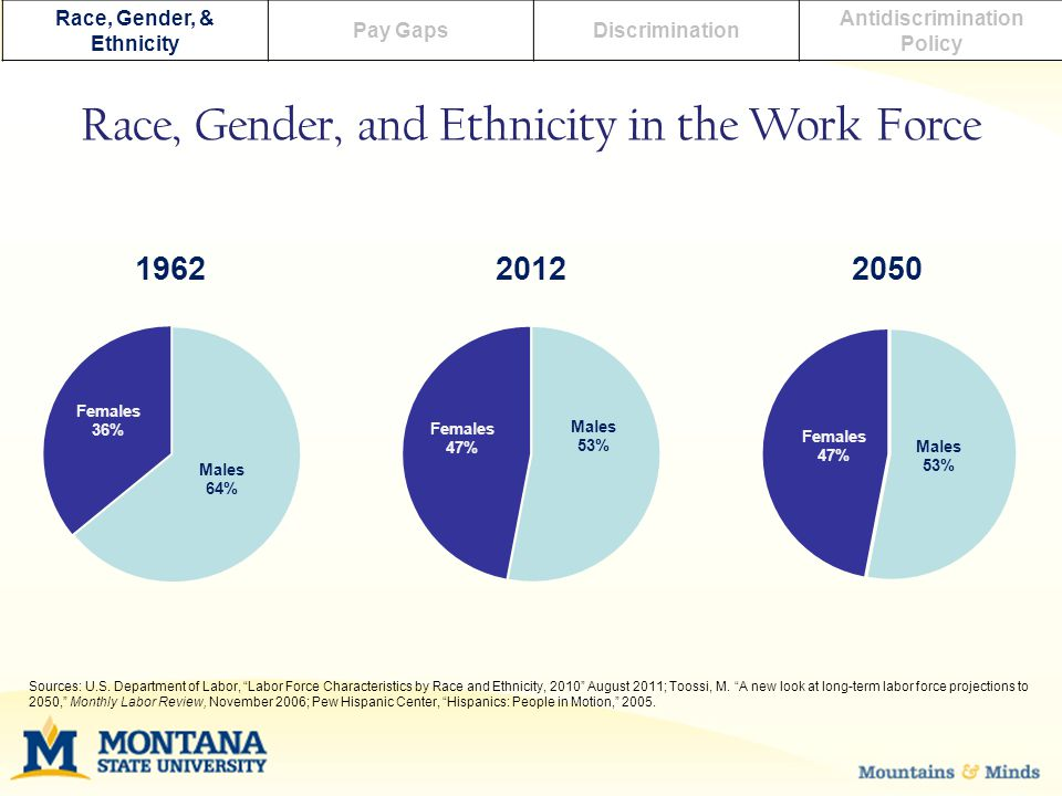Race, Gender, & Ethnicity Pay GapsDiscrimination Antidiscrimination Policy Race, Gender, and Ethnicity in the Work Force Sources: U.S.