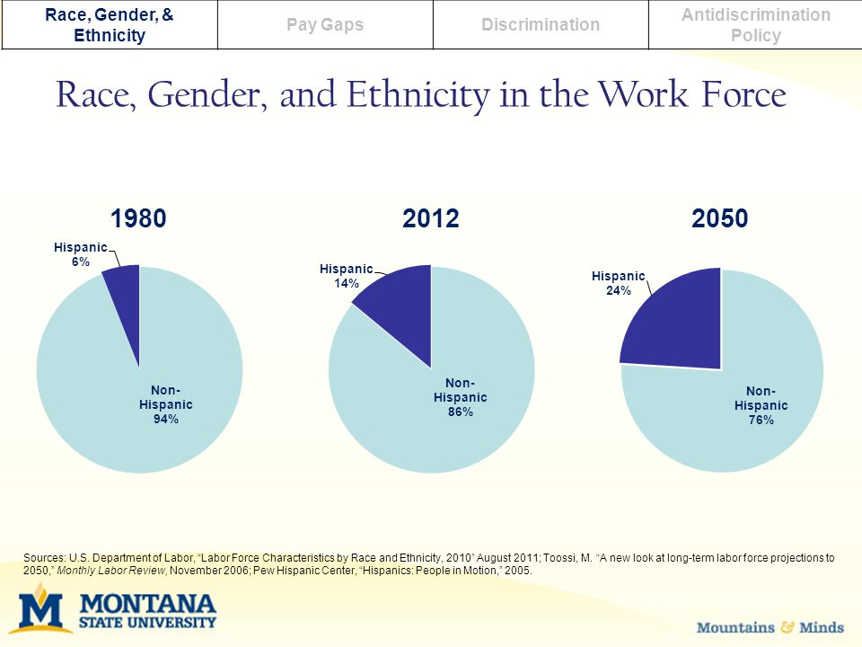 Race, Gender, & Ethnicity Pay GapsDiscrimination Antidiscrimination Policy Race, Gender, and Ethnicity in the Work Force Sources: U.S. Department of L