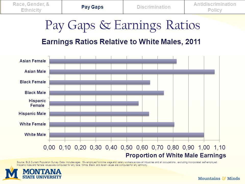 Race, Gender, & Ethnicity Pay GapsDiscrimination Antidiscrimination Policy Pay Gaps & Earnings Ratios