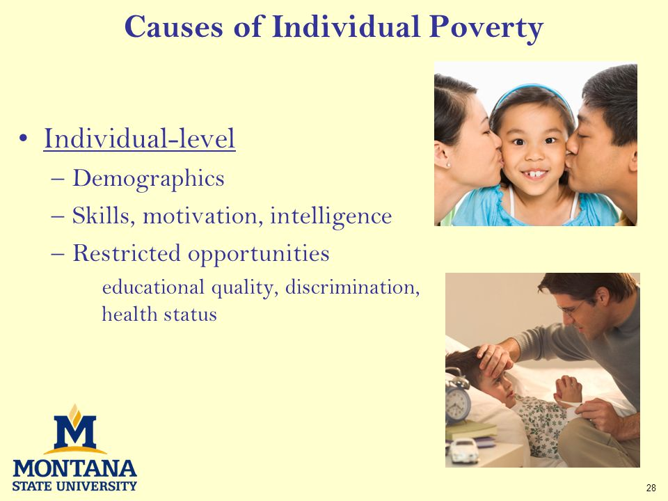 28 Causes of Individual Poverty Individual-level –Demographics –Skills, motivation, intelligence –Restricted opportunities educational quality, discrimination, health status