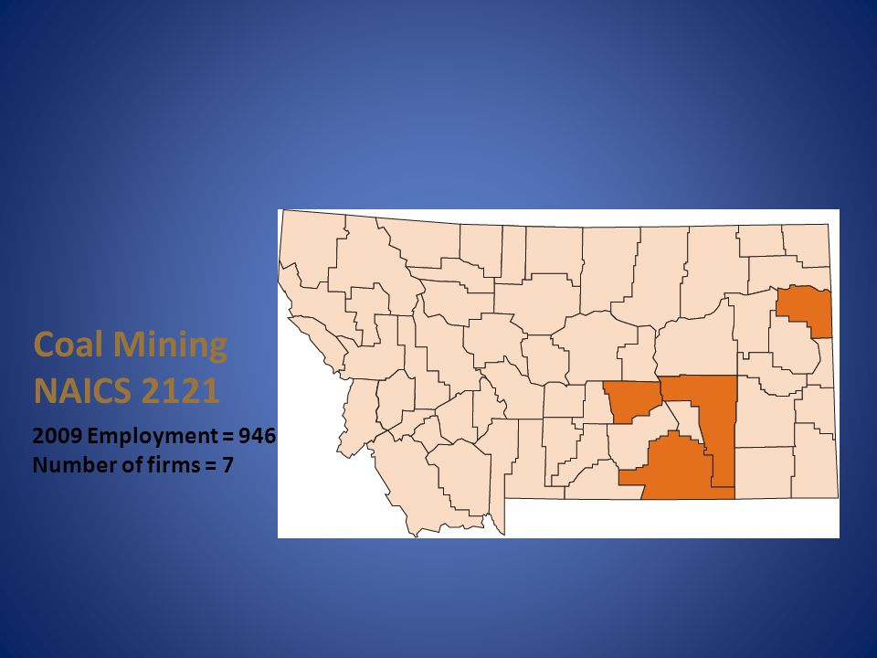 Coal Mining NAICS 2121 2009 Employment = 946 Number of firms = 7