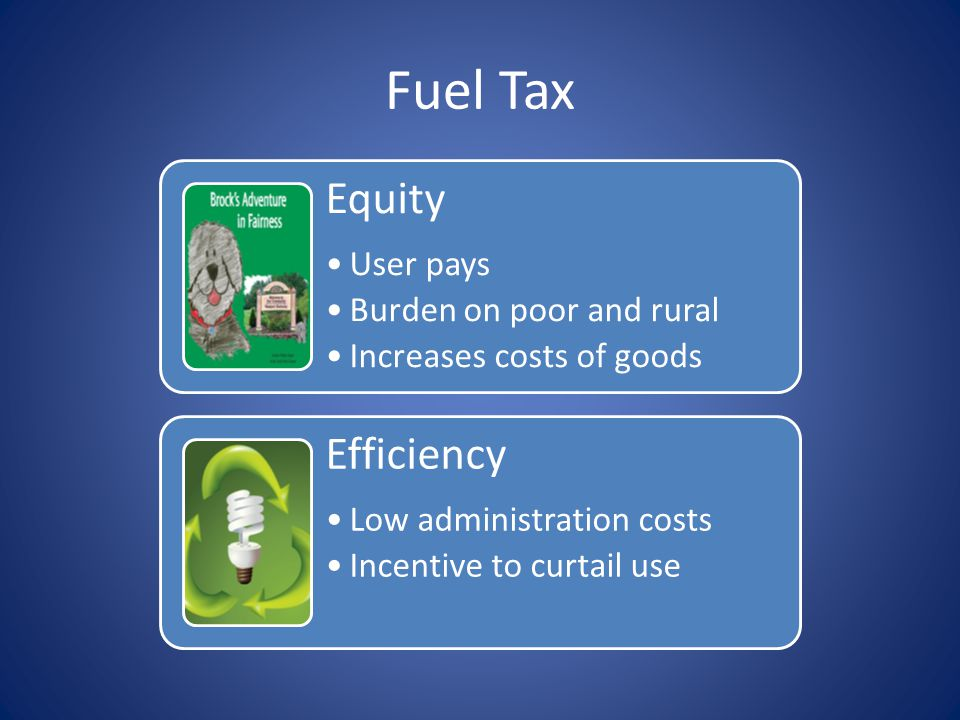 Equity User pays Burden on poor and rural Increases costs of goods Efficiency Low administration costs Incentive to curtail use Fuel Tax
