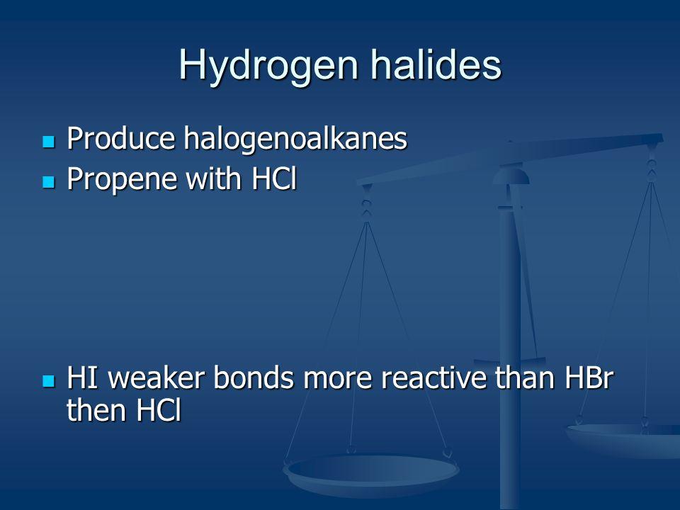 Hydrogen halides Produce halogenoalkanes Produce halogenoalkanes Propene with HCl Propene with HCl HI weaker bonds more reactive than HBr then HCl HI weaker bonds more reactive than HBr then HCl