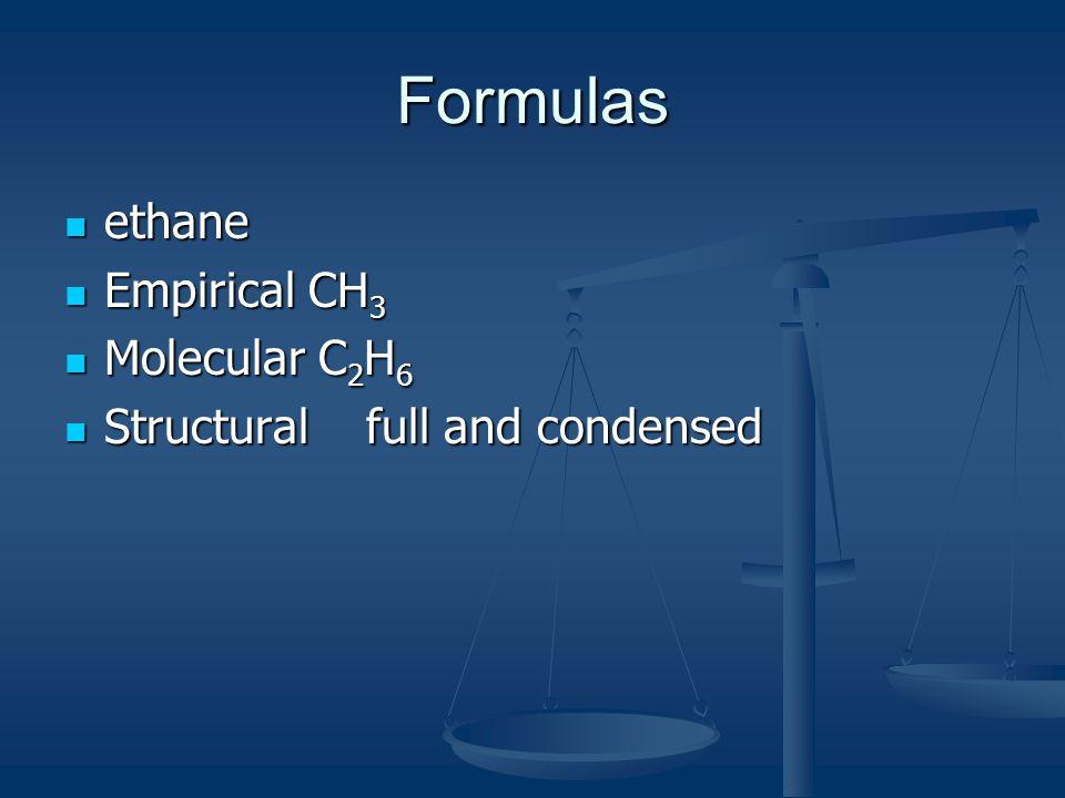 Formulas ethane Empirical CH3 Molecular C2H6 Structural full and condensed