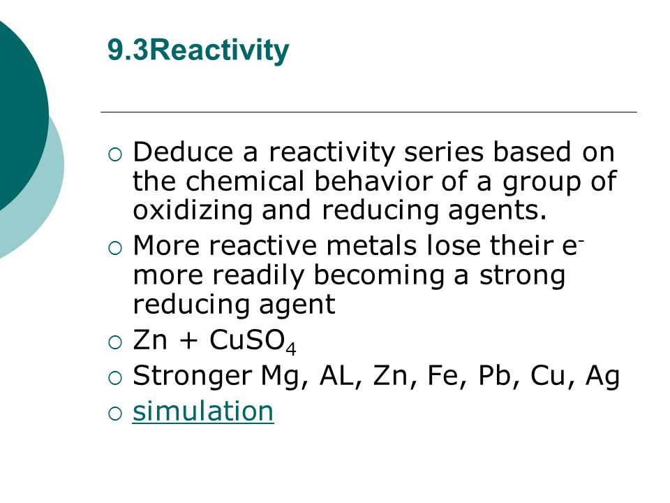  Identify the oxidizing and reducing agents in redox equations.  Fe 2 O 3 + 3C  2Fe + 3CO 2  Fe oxidizing C reducing  IO 3 - + 5I - + 6H +  3I 2